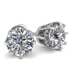 1.03 CTW VS/SI Diamond Stud Solitaire Earrings 18K White Gold - REF-156N4Y - 35667