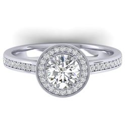 1.65 CTW Certified VS/SI Diamond Solitaire Micro Halo Ring 14K White Gold - REF-228F5M - 30429