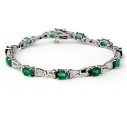 6.11 CTW Emerald & Diamond Bracelet 10K White Gold - REF-56X4T - 14305