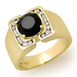2.33 CTW Vs Certified Black & White Diamond Mens Ring 10K Yellow Gold - REF-90M8F - 11929