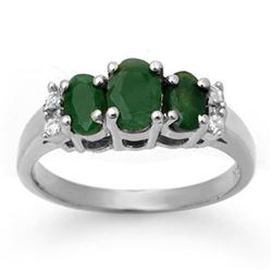 1.08 CTW Emerald & Diamond Ring 14K White Gold - REF-29W3H - 13661