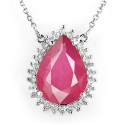 14.15 CTW Ruby & Diamond Necklace 18K White Gold - REF-168T2X - 14286