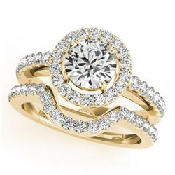 0.96 CTW Certified VS/SI Diamond 2Pc Wedding Set Solitaire Halo 14K Yellow Gold - REF-138M8F - 30776