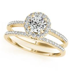 0.85 CTW Certified VS/SI Diamond 2Pc Wedding Set Solitaire Halo 14K Yellow Gold - REF-116N5Y - 30797