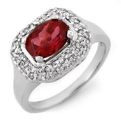 1.90 CTW Rubellite & Diamond Ring 14K White Gold - REF-65W5H - 10162