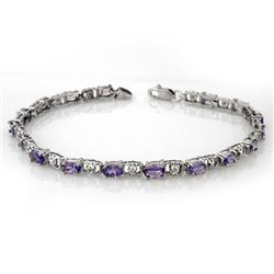 4.02 CTW Tanzanite & Diamond Bracelet 14K White Gold - REF-52W5H - 11088