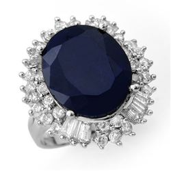 16.66 CTW Blue Sapphire & Diamond Ring 18K White Gold - REF-224F2M - 12936