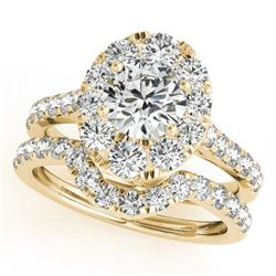 2.52 CTW Certified VS/SI Diamond 2Pc Wedding Set Solitaire Halo 14K Yellow Gold - REF-444N9Y - 31174