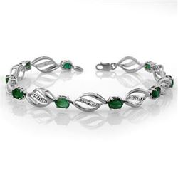 5.10 CTW Emerald & Diamond Bracelet 14K White Gold - REF-94X5T - 10332