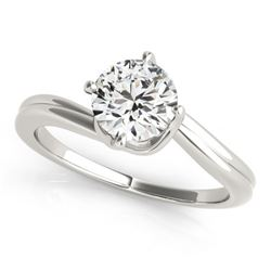 0.50 CTW Certified VS/SI Diamond Bypass Solitaire Ring 18K White Gold - REF-96T8X - 27657