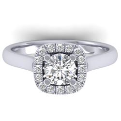 1.01 CTW Certified VS/SI Diamond Solitaire Halo Ring 14K White Gold - REF-182H9W - 30417