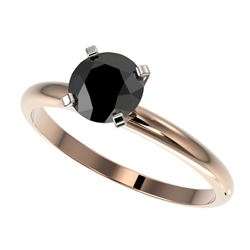1 CTW Fancy Black VS Diamond Solitaire Engagement Ring 10K Rose Gold - REF-32H8W - 32888