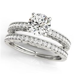0.90 CTW Certified VS/SI Diamond Solitaire 2Pc Wedding Set Antique 14K White Gold - REF-130K8R - 314