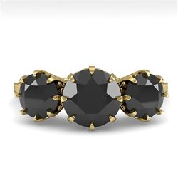 2 CTW Past Present Future Black Diamond Ring 18K Yellow Gold - REF-100K2R - 35779
