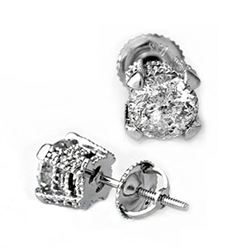 2.0 CTW Certified VS/SI Diamond Solitaire Stud Earrings 14K White Gold - REF-457H2W - 10456