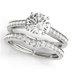 1.83 CTW Certified VS/SI Diamond Solitaire 2Pc Wedding Set 14K White Gold - REF-400X9T - 31640