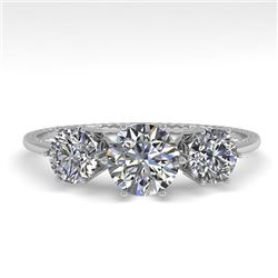 1 CTW Past Present Future Certified VS/SI Diamond Ring 18K White Gold - REF-157H5W - 35904