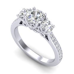 1.67 CTW VS/SI Diamond Solitaire Art Deco 3 Stone Ring 18K White Gold - REF-281R8K - 37028