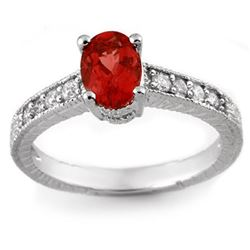 1.50 CTW Pink Tourmaline & Diamond Ring 14K White Gold - REF-39H5W - 10783