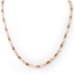 9.02 CTW Orange Sapphire & Diamond Necklace 14K Rose Gold - REF-87X3T - 11645