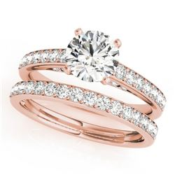 1.91 CTW Certified VS/SI Diamond Solitaire 2Pc Wedding Set 14K Rose Gold - REF-401N5Y - 31608