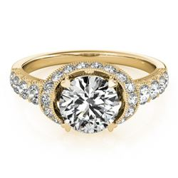 1.75 CTW Certified VS/SI Diamond Solitaire Halo Ring 18K Yellow Gold - REF-420K2R - 27026