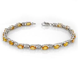 6.02 CTW Yellow Sapphire & Diamond Bracelet 14K White Gold - REF-58Y2N - 11226