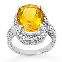 6.0 CTW Citrine & Diamond Ring 14K White Gold - REF-77T3X - 13401