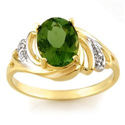 2.54 CTW Green Tourmaline & Diamond Ring 10K Yellow Gold - REF-39K3R - 11476