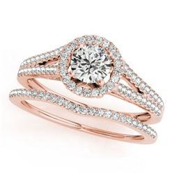 1.46 CTW Certified VS/SI Diamond 2Pc Wedding Set Solitaire Halo 14K Rose Gold - REF-383K3R - 31044