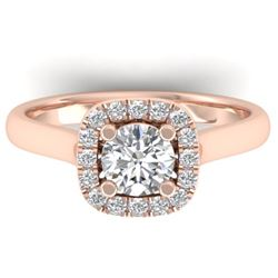 1.01 CTW Certified VS/SI Diamond Solitaire Halo Ring 14K Rose Gold - REF-182K9R - 30418