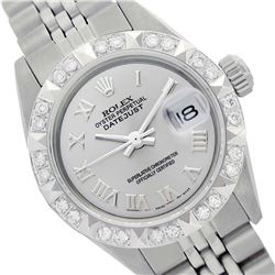 Rolex Ladies Stainless Steel, Roman Dial with Pyrimid Diam Bezel, Saph Crystal  - REF-352W4K