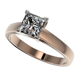 1.25 CTW Certified VS/SI Quality Princess Diamond Solitaire Ring 10K Rose Gold - REF-372R3K - 33014