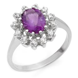 1.19 CTW Amethyst & Diamond Ring 18K White Gold - REF-40W2H - 12418