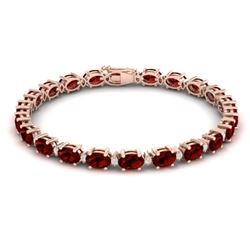 25.8 CTW Garnet & VS/SI Certified Diamond Eternity Bracelet 10K Rose Gold - REF-119M3F - 29453