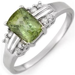 1.41 CTW Green Tourmaline & Diamond Ring 18K White Gold - REF-41N3Y - 10520