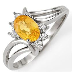 0.70 CTW Yellow Sapphire & Diamond Ring 18K White Gold - REF-33K5R - 10645