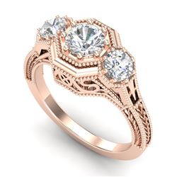 1.05 CTW VS/SI Diamond Solitaire Art Deco 3 Stone Ring 18K Rose Gold - REF-200T2X - 37101