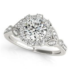 1 CTW Certified VS/SI Diamond Solitaire Halo Ring 18K White Gold - REF-139R3K - 26530
