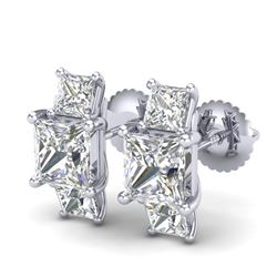3.08 CTW Princess VS/SI Diamond Art Deco Stud Earrings 18K White Gold - REF-668H2W - 37199