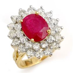 8.0 CTW Ruby & Diamond Ring 14K Yellow Gold - REF-230W2H - 13270