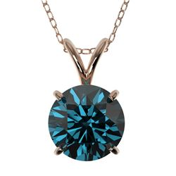 1.50 CTW Certified Intense Blue SI Diamond Solitaire Necklace 10K Rose Gold - REF-245M5F - 33227