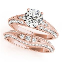 1.51 CTW Certified VS/SI Diamond Solitaire 2Pc Wedding Set Antique 14K Rose Gold - REF-164K2R - 3144
