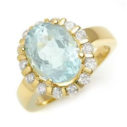 4.65 CTW Aquamarine & Diamond Ring 10K Yellow Gold - REF-90R8K - 11250