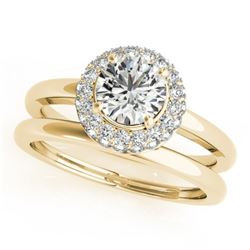 1 CTW Certified VS/SI Diamond 2Pc Wedding Set Solitaire Halo 14K Yellow Gold - REF-184R9K - 30920