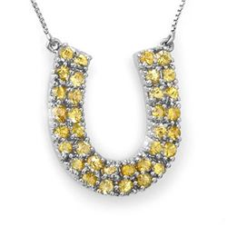 2.0 CTW Yellow Sapphire Necklace 14K White Gold - REF-56W8H - 11710