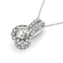 0.91 CTW Certified SI Diamond Solitaire Halo Necklace 14K White Gold - REF-169W3H - 30261
