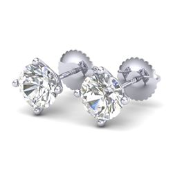 2 CTW VS/SI Diamond Solitaire Art Deco Stud Earrings 18K White Gold - REF-540Y2N - 37304