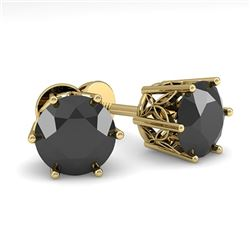 2.0 CTW Black Certified Diamond Stud Solitaire Earrings 18K Yellow Gold - REF-64W8H - 35851