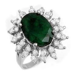 6.45 CTW Emerald & Diamond Ring 18K White Gold - REF-132X9T - 13289